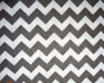 "Gray and White Chevron Print Fabric by the yard - Approx. 60"" wide"