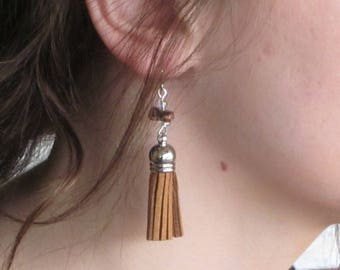 Clearance - Tassel Collection -Brown Tassel Earrings with Stone Accents