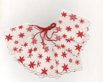 12 labels American tag red snowflakes