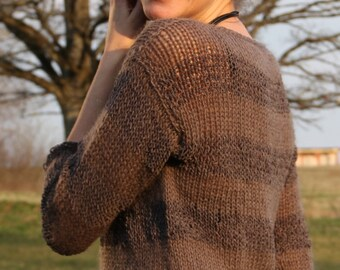Hand knitted woman sweater, Womens knitted sweater, brown sweater