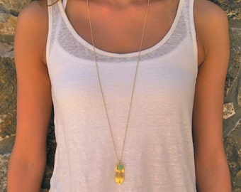 Long Gold Feather Necklace with Glass Charm Accent