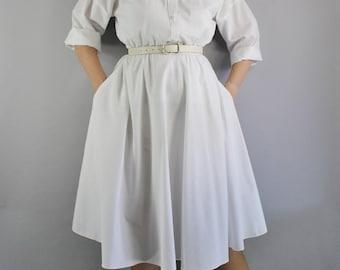 Women's Fall Dress, Casual Wedding Shirtdress, American Shirt Dress, Fit and Flare, 50s Style Dress, Secretary, Medium, FREE SHIPPING