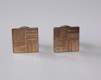 Beautiful  VINTAGE Victorian  Cufflinks Cuff Buttons Pat 1881 Etched Design Square