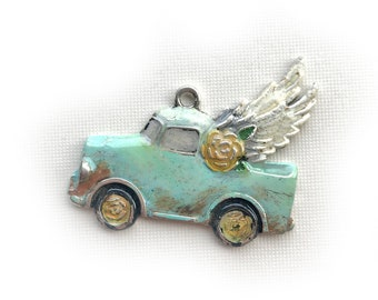 Vintage Truck Pendant with Wings, Soft Turquoise Flying Truck Pendant, Mint Junk Truck Pendant, Gone Junkin Gypsy Truck, Dry Gulch, Dixie