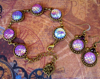 Steampunk Jewelry Set (Set801) Bracelet and Earrings, Brass Hardware, Lavender Aurora Borealis Mermaid Scale Acrylic Gems,Swarovski Crystals
