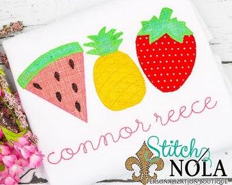Summer Fun Fruit Trio Applique, Tutti Fruitti, Watermelon Applique, Pineapple Applique, Strawberry Applique  Spring Applique, Summer Appliqu