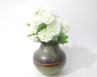 Flower Vase, Rose Vase, Handmade flower display, Ikebana Vase, OOAK Green and Brown Flower Jar