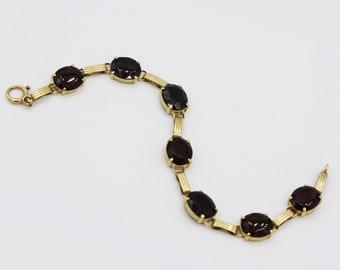 Vintage 14k Yellow Gold Garnet Bracelet