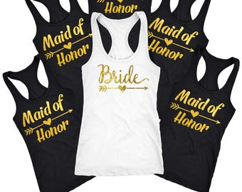 Maid of honor tank top, maid of honor shirt, bridal shirts, Bridesmaid wedding gifts for her, Custom bachelorette, wedding tanks,  D119