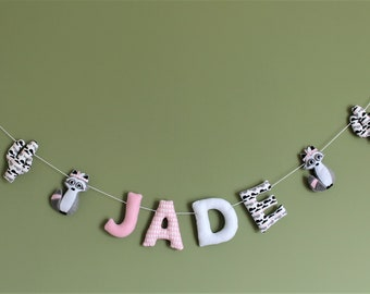 grey pink name Garland