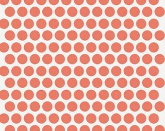 Organic Fabric - Birch Fabric Dottie Coral Mod Basics - Polka Dot Fabric - Organic Baby Bedding Fabric