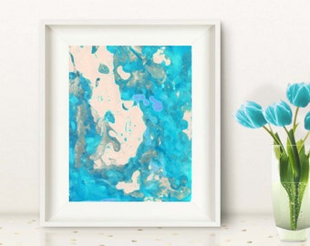 Watercolor Abstract Art, Turquoise Print, Teal Azure Painting Printable Art Print INSTANT DOWNLOAD, Printable Background, Turquoise Abstract