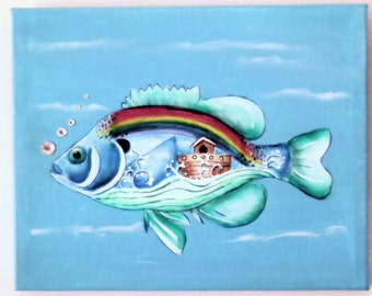Sunfish with Ark, original art; fish theme, home decor, children's room or bath