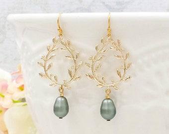 Gold Laurel Wreath Earrings, Sage Green Laurel Wreath Teardrop Pearl Earrings, Chandelier Earrings, Bridal Bridesmaid Mom Gift For her