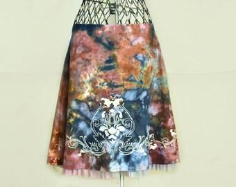 Tie Dye Skirt-Blue Skirt-Brown Skirt-Aline Skirt-Ruffle Skirt-Size 4-Size Small