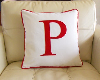 Monogram pillow, Red Letter Felt applique initial pillowcase, Wedding or Anniversary gift, Typography, Personalized Pillow