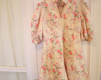 1960s Empire Waist Mini floral pink nude peach mod shift Dress