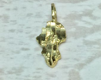 10k Gold Nugget Pendent - 10k Gold Nugget Charm - Gold Nugget Jewelry - Small Gold Pendents