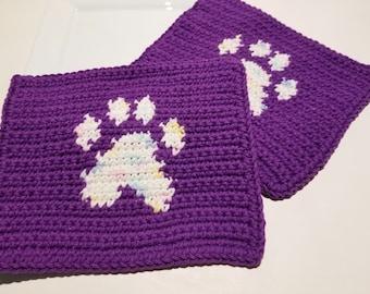 Pawprint Washcloths, Paw Print Washcloths, Purple Pastel Crocheted, Crochet Washcloths, Wash Cloths Dishcloths, Dish Cloths Pet Lover Gift