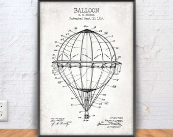 BALLOON poster, balloon patent print, balloon blueprint, balloon illustration, air balloon printable, french balloon, aviation, #1102
