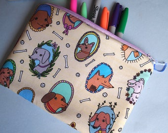 Dog fabric zipper pouch - Dogs - Dog accessories - I like cats - Dog gifts - Puppy - Dog illustration - Makeup case - Pencil case - zipper