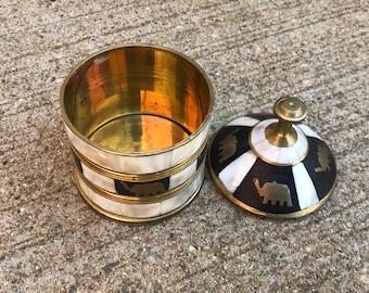 Mother of pearl brass elephant inlay vintage cannister jar black stash box boho bohemian home decor