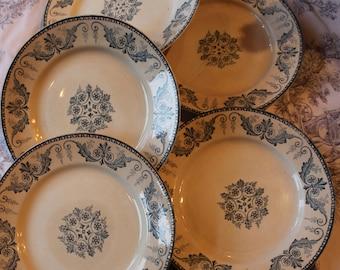 French vintage Collectors Plates Blue Trim Malmaison Luneville