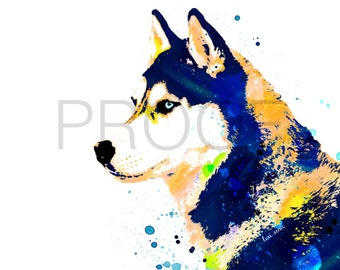 Husky || Ice the Husky || Dog Art || Husky Print || Watercolor Dog || Husky Dog || Siberian Husky