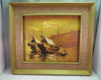oil on canvas of chinese boats ,