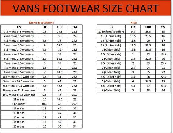 vans old skool size chart