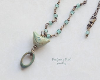 Ceramic Bird Pendant on Blue Green Beaded Necklace, Glass Beads, Brass Chain Layering Necklace, Spring Summer Jewelry, Mother's Day Gift