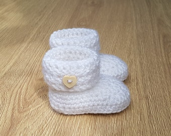 Newborn Baby Booties-Crochet Boots-Warm Socks-Girls-Boys-Wool mix-Heart or Round buttons-White-Baby Shower-Gift for Baby