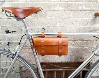 Leather Bicycle Bag -  Bike bag - Crossbar Bag, Honey