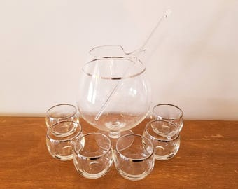 Vintage Silver Band Bar Glass Set 6 Small Roly Poly Glasses w/ Footed Pitcher & Stir Stick