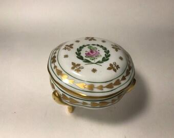 Vintage 3 Footed Porcelain Trinket Box Limoges France Ebeling & Reuss Co Gold Lettering Decoration Vanity