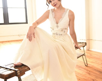 Rosina Bodice - Hand-beaded bridal top