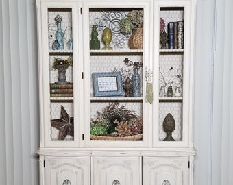 Vintage Hutch, French Provincial China Cabinet, Shabby Chic, Hand Painted  Cream, Distressed