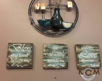Art Bless the food... sign - Hand painted, Rustic Wood Sign, Distressed Sign, Home Wall Decor, Wood Stain Sign