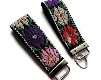 Boho Wristlet, Floral Key Fob, Fabric Keychain, Wristlet Keychain, Wristlet Key Fob, Key Ring, Flower keychain