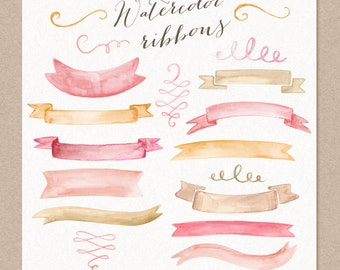 Watercolor Cliparts Ribbons and Swashes Pink Gold Digital cliparts for branding and scrapbooking