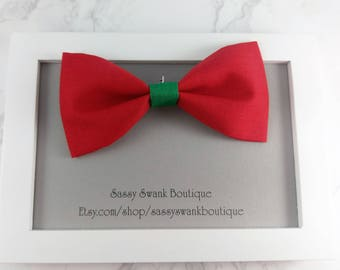 Christmas Bow Tie, Clip on Bow Tie, Baby Bow Tie, Baby Wedding Bow Tie, Ring Bearer, First Birthday Tie, Toddler Bow Tie, Baby Gift, Bow Tie