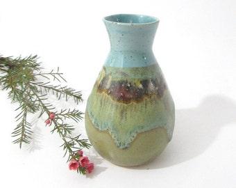 Small Table Vase, Small Flower Vase, Pottery Vase, Handmade Flower Display, Ikebana Vase, OOAK Landscape design in Turquoise and Green