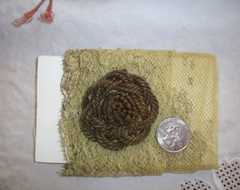 Antique metal rosette made of french metal work authentic piece passementerie