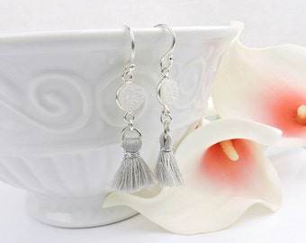 FREE US Ship Grey Tassel And Drusy Earrings White Drusy Earrings With Grey Tassels Boho Drusy And Tassel Earrings White Drusy Earrings