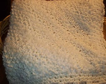 "Hand Knit Bulky Weight Afghan....Off White and Ivory...62"" x 62""..."