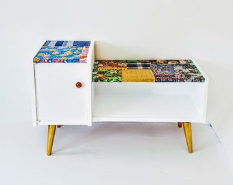 Mid-Century Modern Media Console Record Cabinet / vintage credenza 60s, patchwork handmade