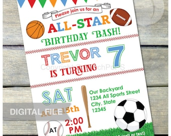 "All Star Birthday Bash Sports Invitation Baseball Soccer Football Basketball Party - Digital Invite 5"" x 7"" Printable"