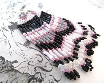 Beaded Indian Earrings, American Indian Style, Pink and Black, Paris Love, Fringe Earrings, Beadwork Earrings, Pink and Gray, geometric