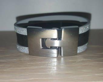 création bracelet  cuir  noir et et gris pailletté pour femme