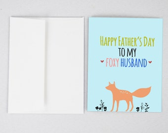 Foxy Husband Father's Day Card, Husband Father's Day Card, Father's Day Card, Greeting Card, Father's Day, Gifts for Dad, Father's Day Print